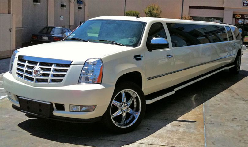 Cadillac Escalade 20 passanger SUV Limo front view by Affordable Limo Inc